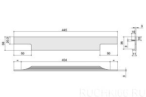 Ручка врезная (торцевая) L.445 мм
